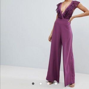 Purple lace jumpsuit